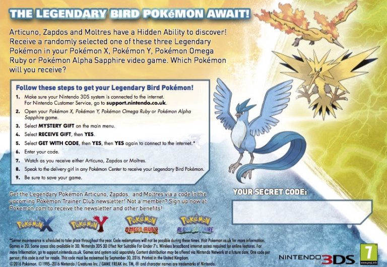 Hidden Ability Legendary Birds might be distributed in Trainer