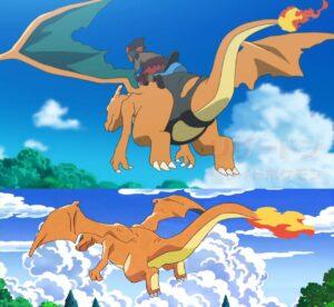 Kawe e Charizard nella serie animata Pokémon Sole e Luna