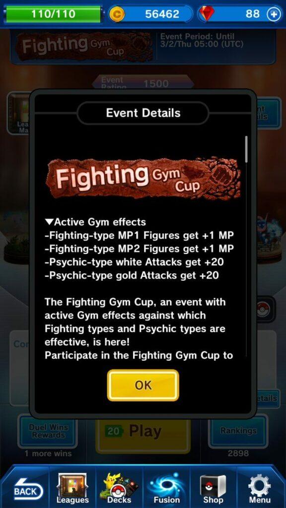 Pokémon Duel Fighting Gym Cup