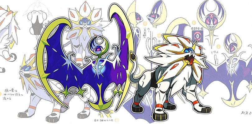 Ecco le concept art di Solgaleo, Lunala, dei Tapu e di molti altri Pokémon di settima generazione