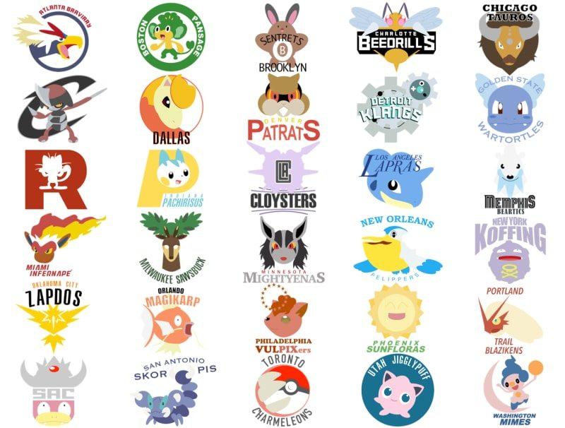 Loghi NBA a tema Pokémon