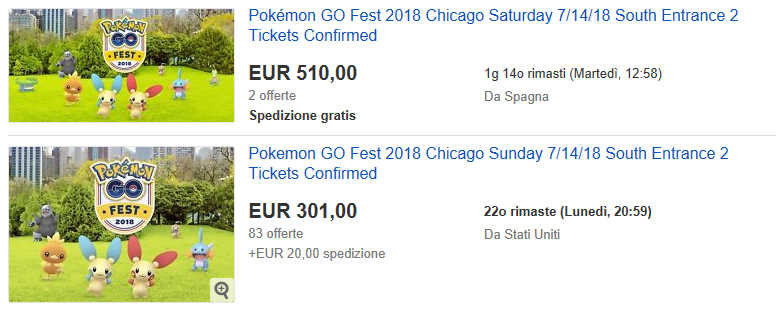 I biglietti della Pokémon GO Fest 2018 sono terminati in soli 39
