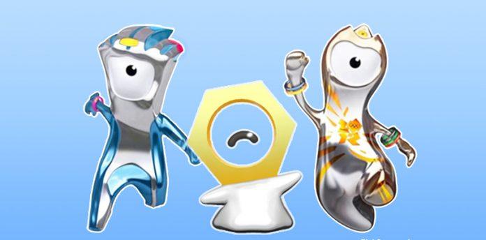 Meltan, il Pokémon Bullone, insieme a Wenlock e Mandeville, le mascotte di Londra 2012