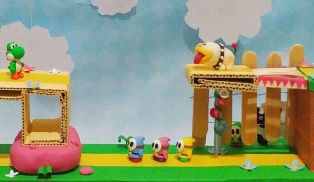Dettaglio del diorama di Yoshi's Crafted World