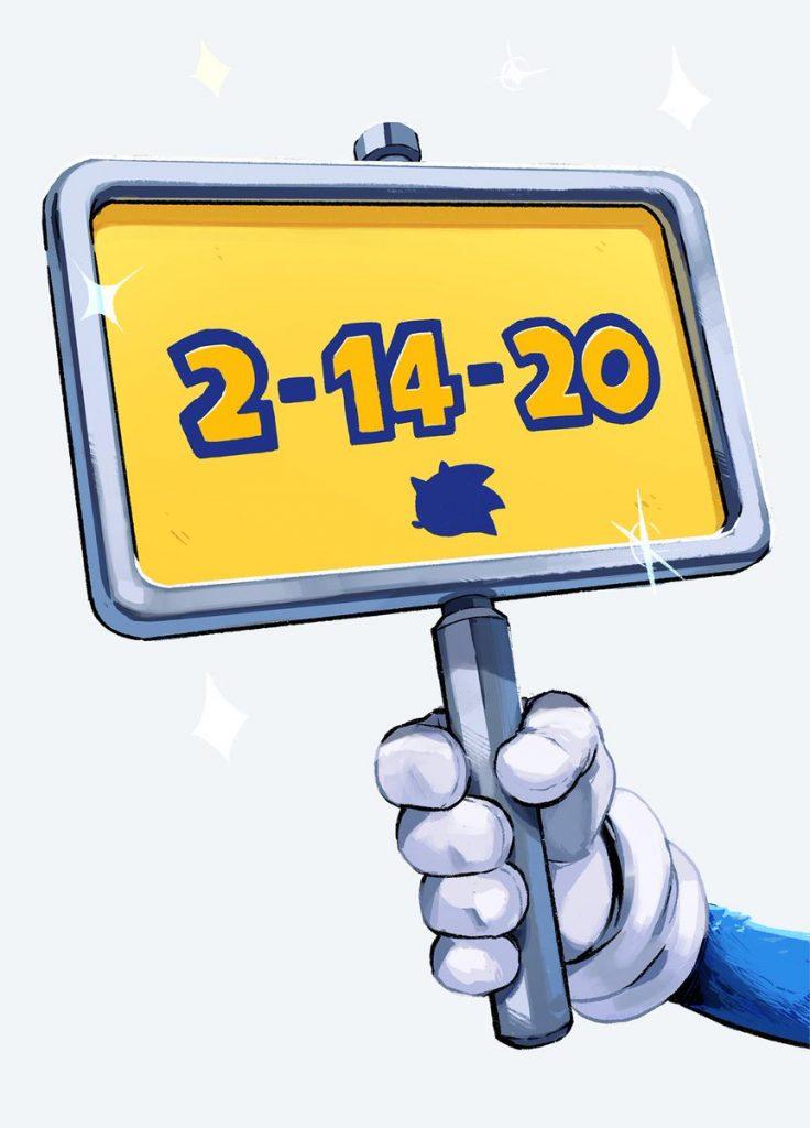 Cartello con la nuova data di uscita del film di Sonic