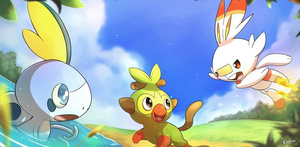 Artwork di Sobble, Grookey e Scorbunny