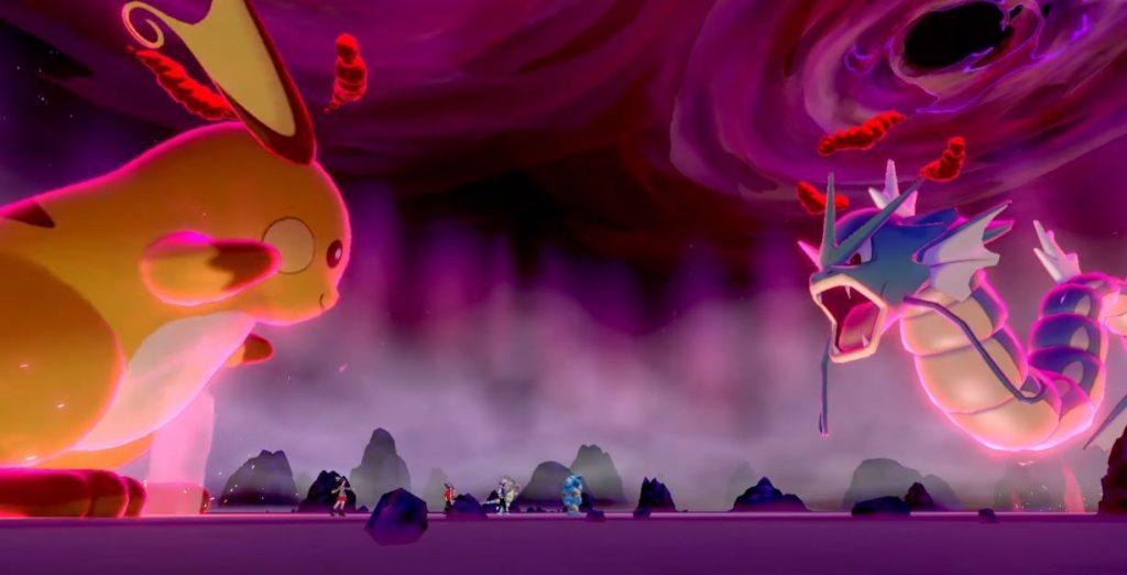 Immagine di gioco con Raichu e Gyarados Dynamax