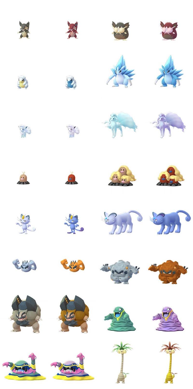 Pokémon GO Forme Alola cromatiche
