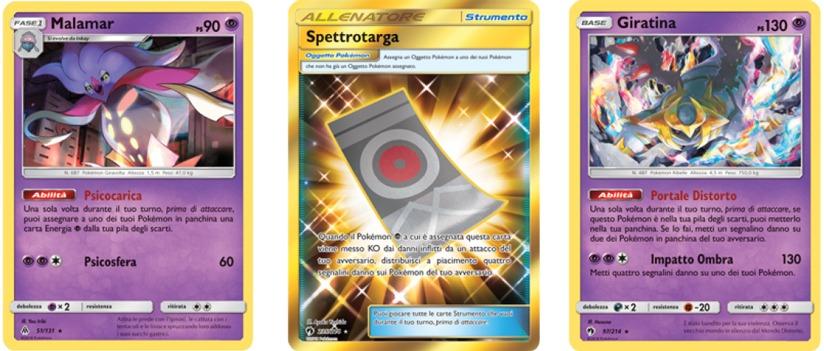 Immagine rappresentante le 3 carte più significative del mazzo: Malamar, Spettrotarga e Giratina