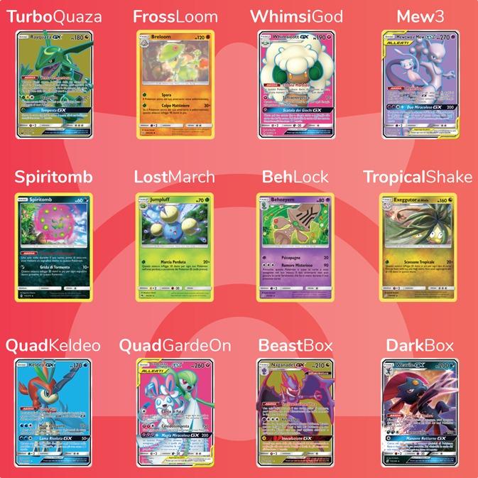 Nell'immagine sono rappresentati alcuni dei mazzi che potranno essere giocati ai Campionati Mondiali Pokémon 2019 GCC