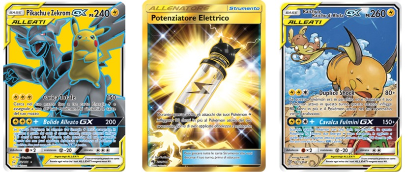 Immagine rappresentante le 3 carte più significative del mazzo: Pikachu e Zekrom GX, Potenziatore Elettrico e Raichu e Raichu di Alola GX