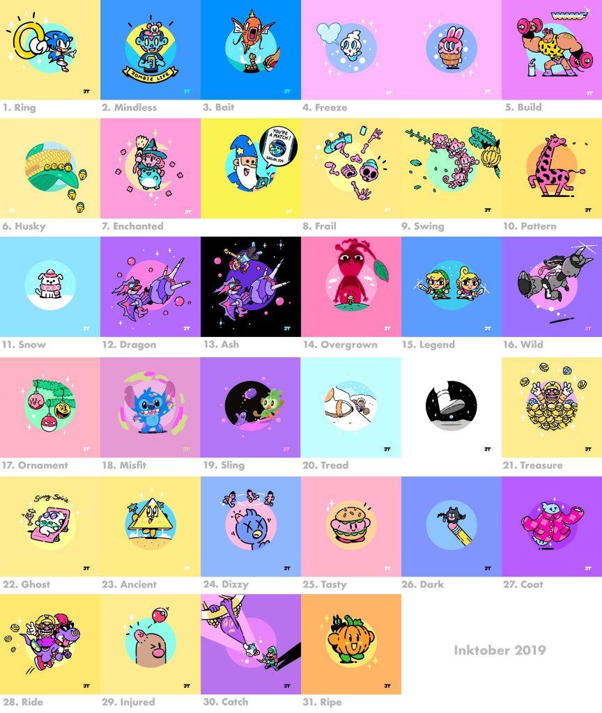 la tabella di tutti i disegni per Inktober 2019 di James Turner
