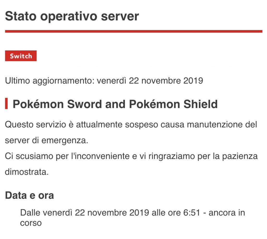 manutenzione server Nintendo