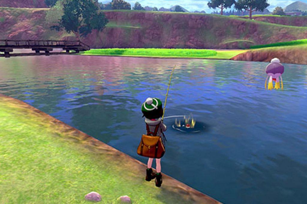 un Pokémon avvolto dall'aura come appare durante la pesca