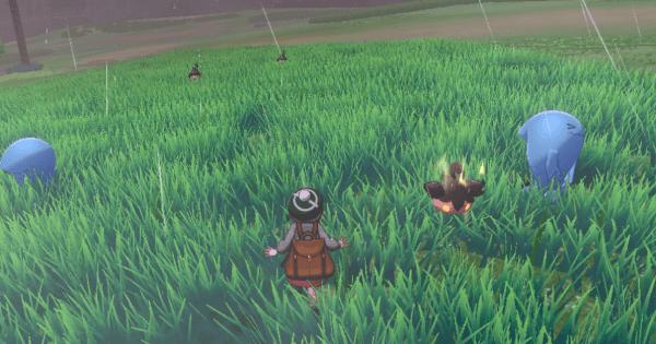 un Pokémon avvolto dall'aura nell'erba alta