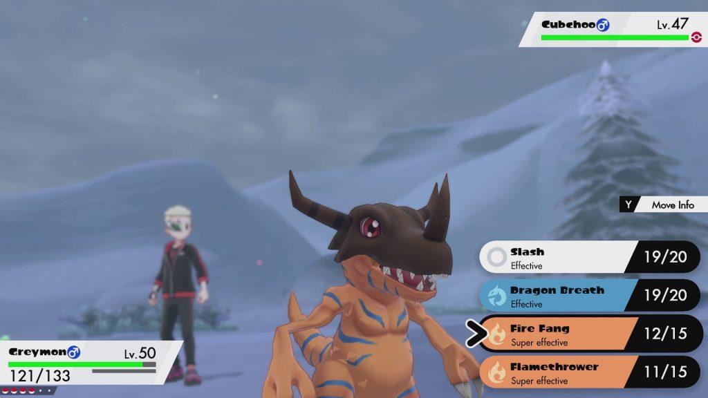Greymon in una scena di gioco