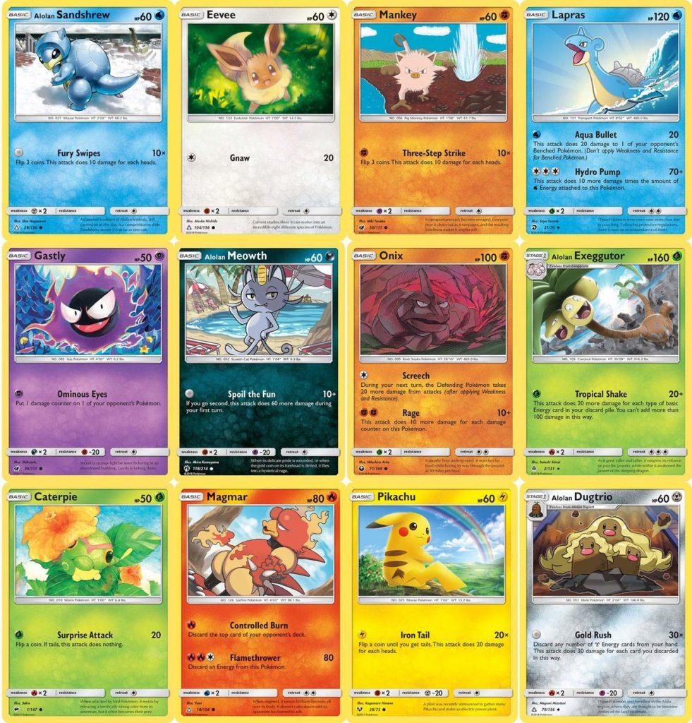 carte presenti nell'Happy Meal Pokémon