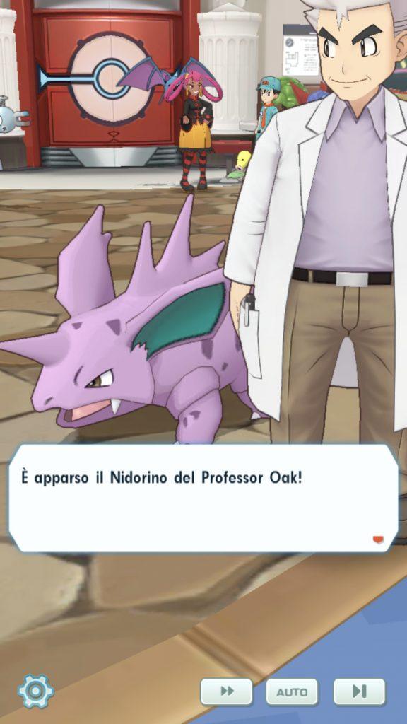 Il Professor Oak e Nidorino in Pokémon Masters