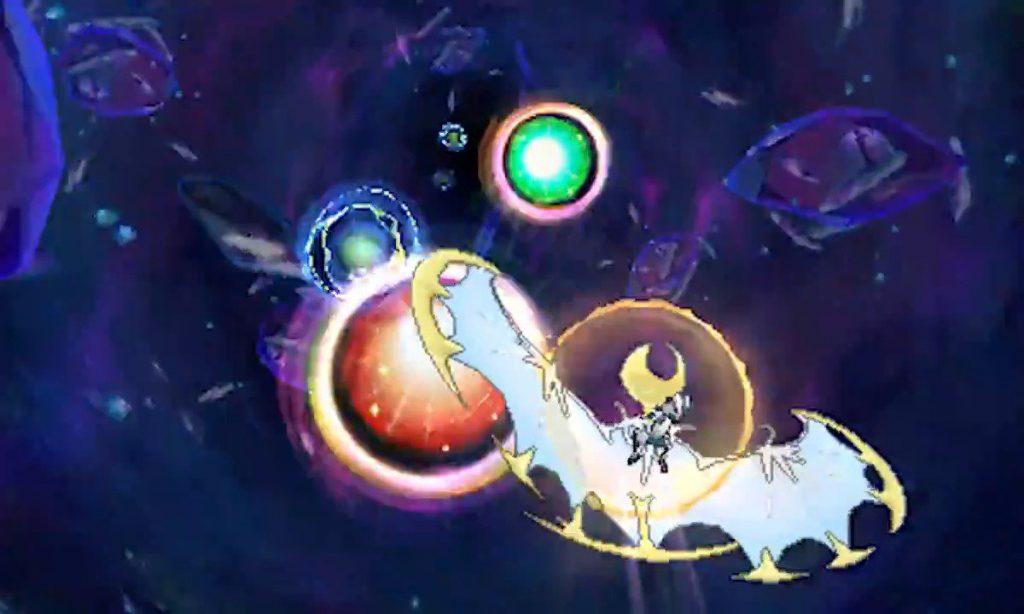 Lunala che percorre l'Ultravarco, un possibile candidato al sistema di teletrasporto, ma che non combacia con quello che si vede nel gioco.