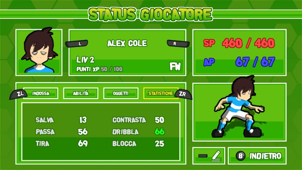 Status Giocatore in Ganbare! Super Strikers