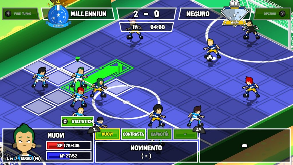 Visuale ruotata di un match di Ganbare! Super Strikers