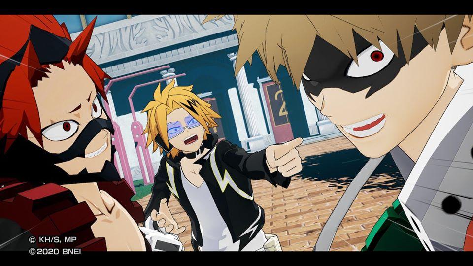 Bakugo-Kaminari-Kirishima interagiscono in MY HERO ONE'S Justice 2