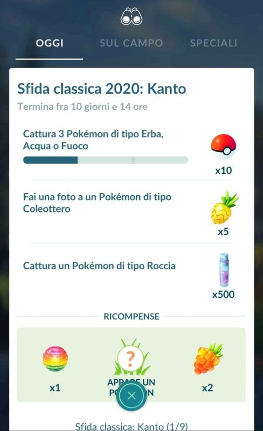 """Ricerca Speciale """"Sfida classica: Kanto"""" su Pokémon GO"""