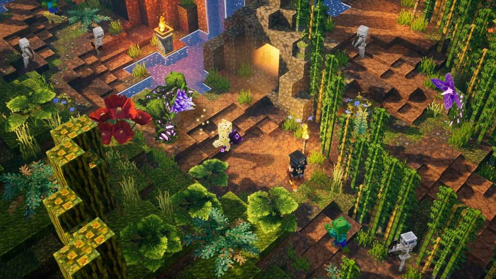 Immagine di gioco del primo DLC di Minecraft Dungeons chiamato Jungle Awakens