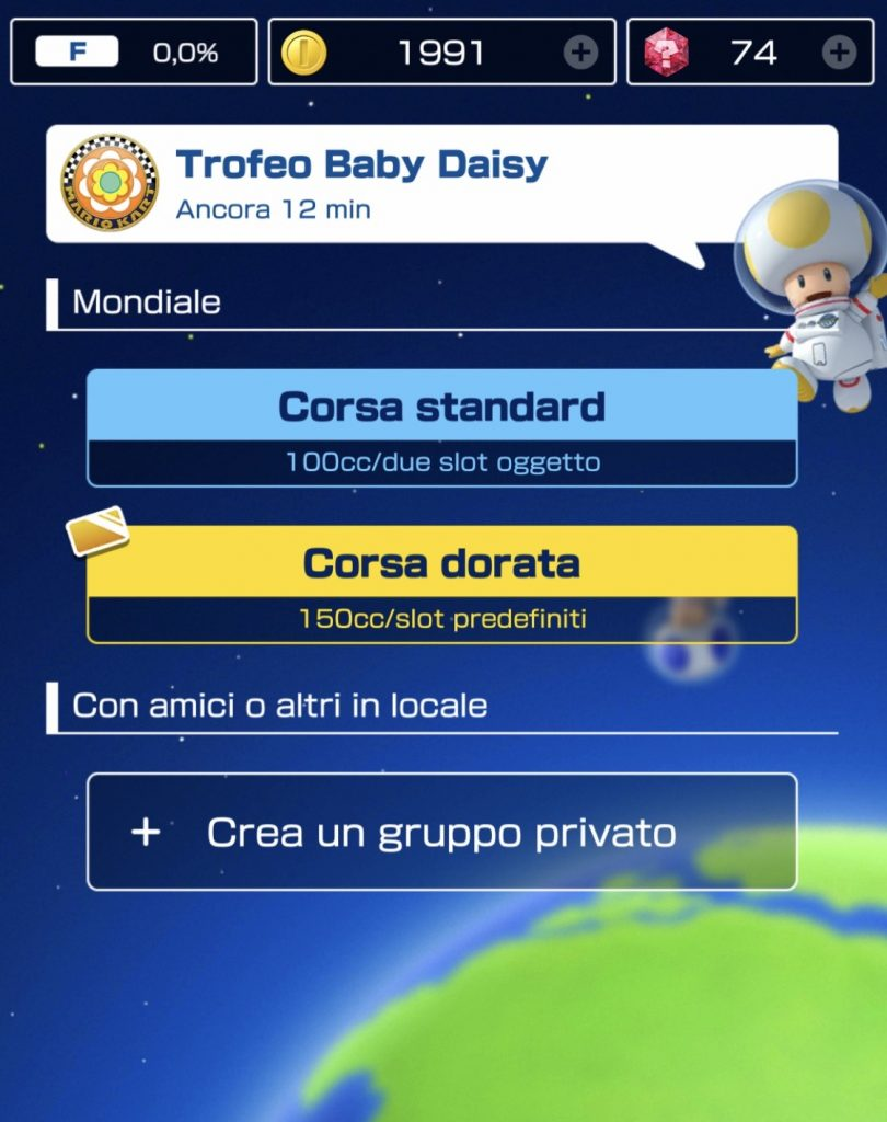 Schermata multiplayer Mario Kart Tour