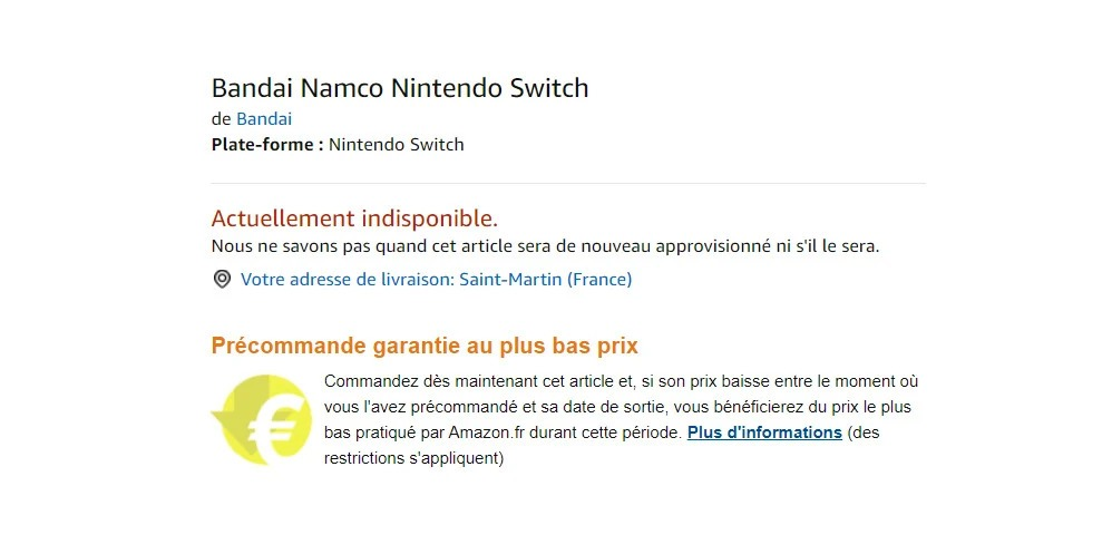 Bandai Amazon France