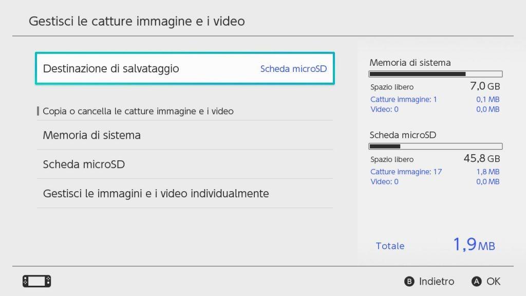 Gestione immagini video Nintendo Switch