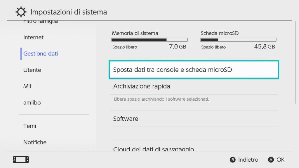 Gestione della memoria Nintendo Switch