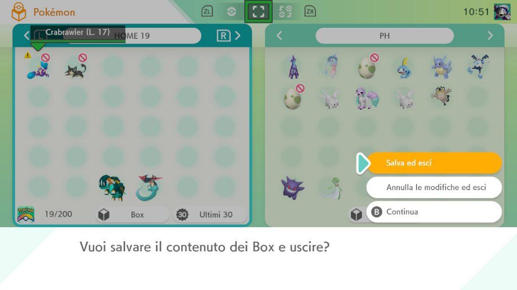 Salvataggio Pokémon HOME per registrazione Pokédex Armatura