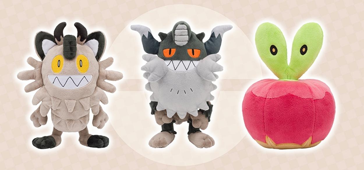 I peluche di Meowth di Galar, Perrserker e Applin sono in arrivo nei Pokémon Center