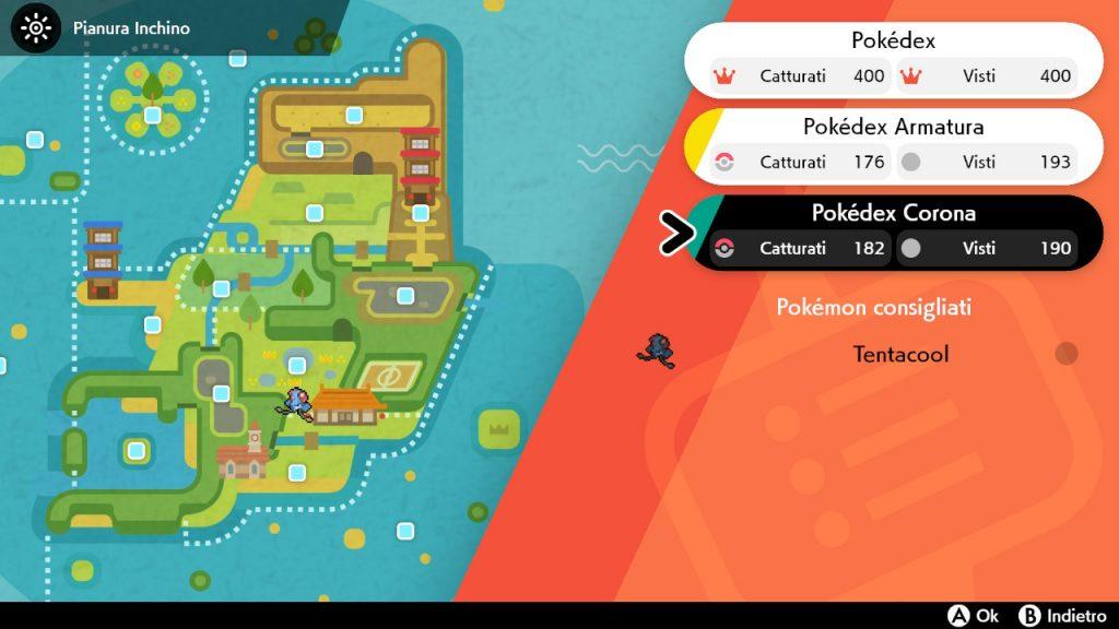 La schermata dei Pokédex di Pokémon Spada e Scudo