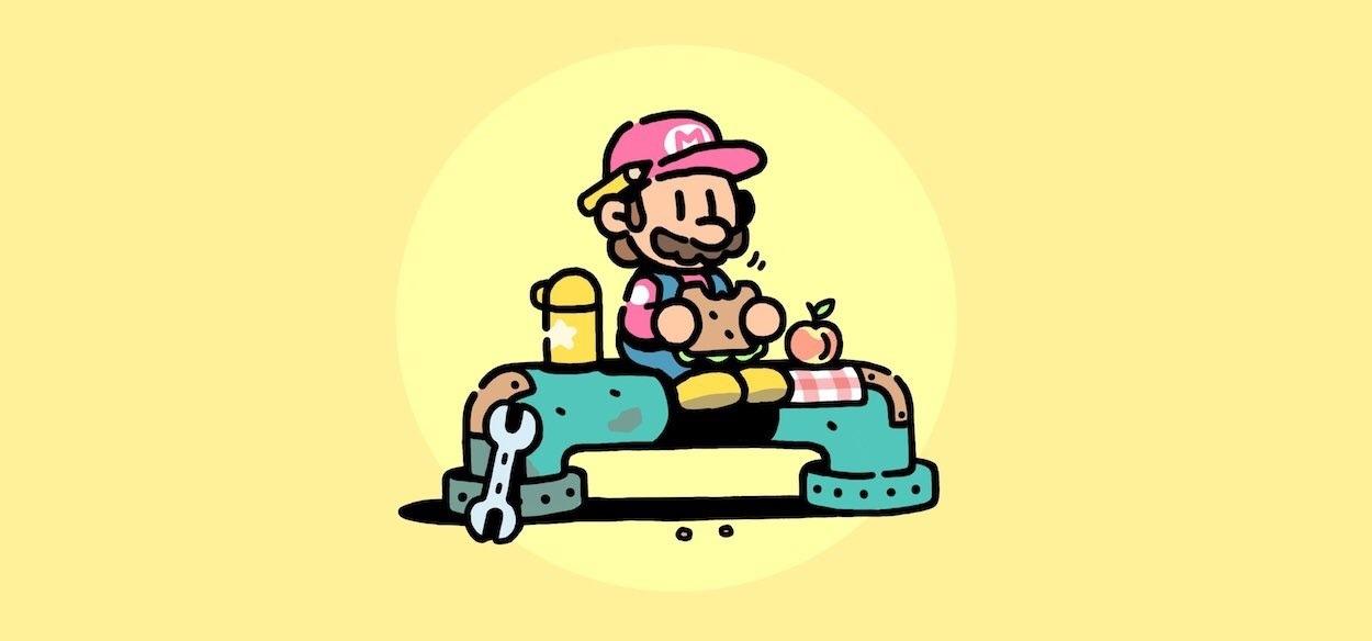 Super Mario si rilassa nella nuova illustrazione di James Turner