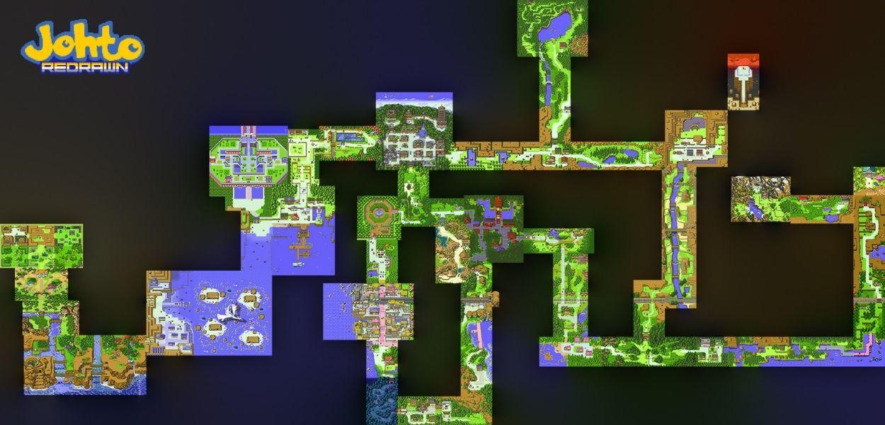 Johto Redrawn: ecco la mappa completa ricreata in pixel art