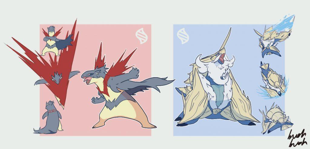 Gli altri due starter Pokémon nella loro megaevoluzione secondo l'artista
