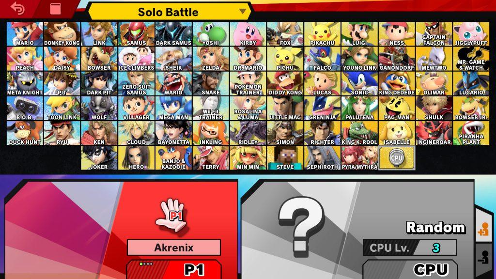 schermata selezione smash senza fire emblem