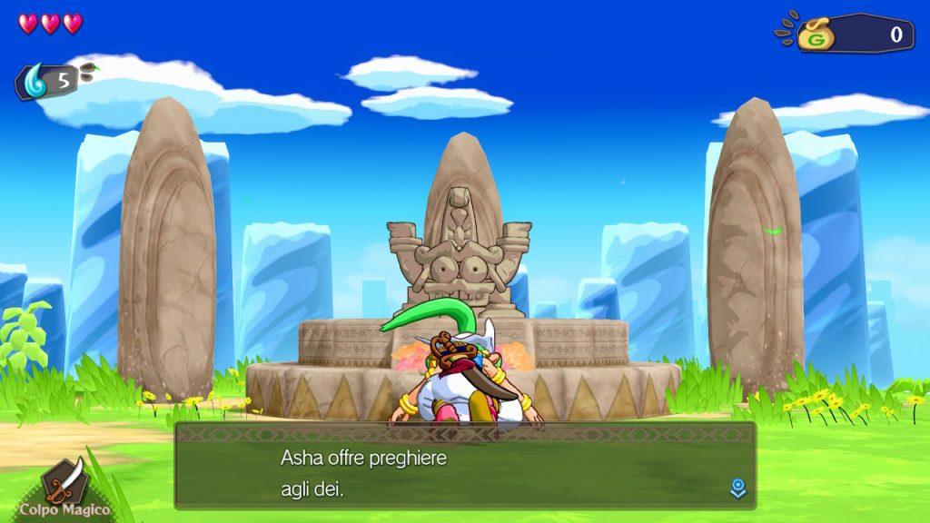 Asha prega all'altare nelle fasi iniziali di Wonder Boy: Asha in Monster World