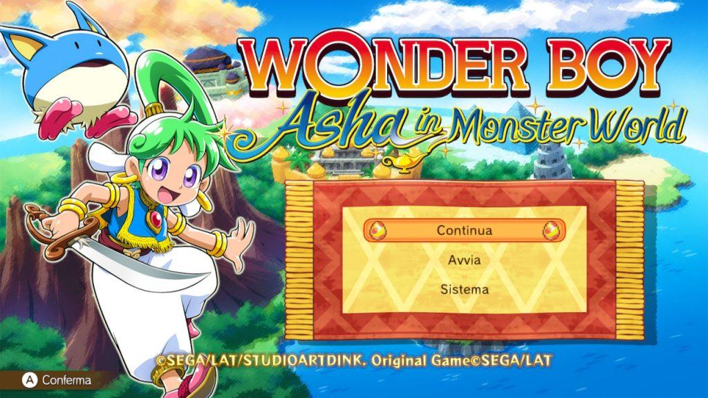 Menù principale di Wonder Boy: Asha in Monster World