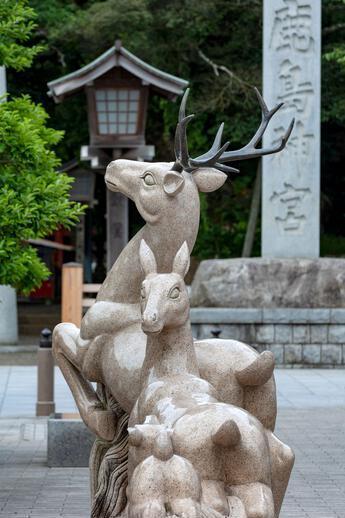 scultura cervi tempio di Kashima
