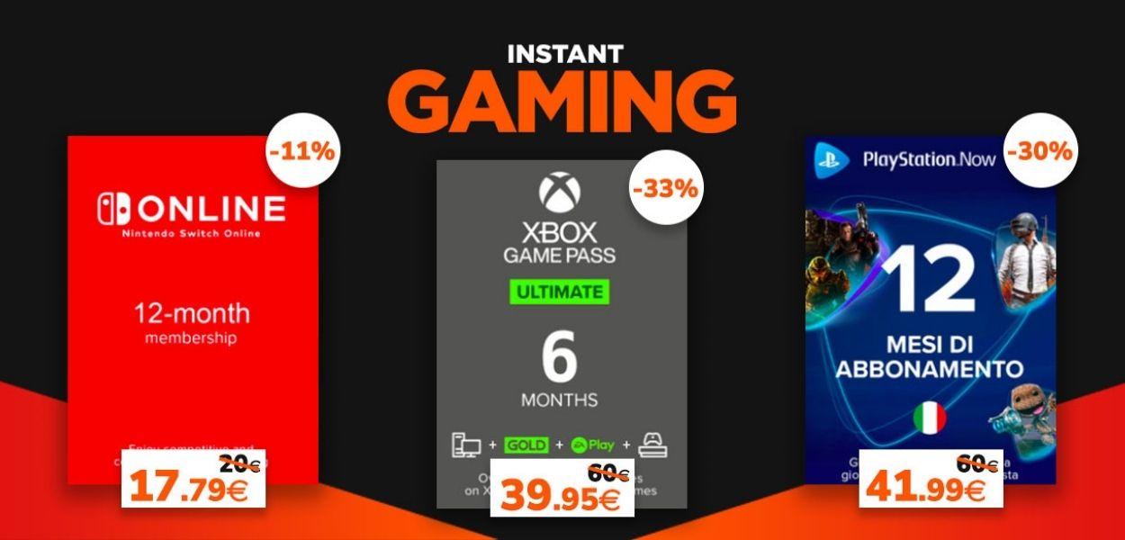Abbonamenti e gift card per tutte le console in offerta da Instant Gaming